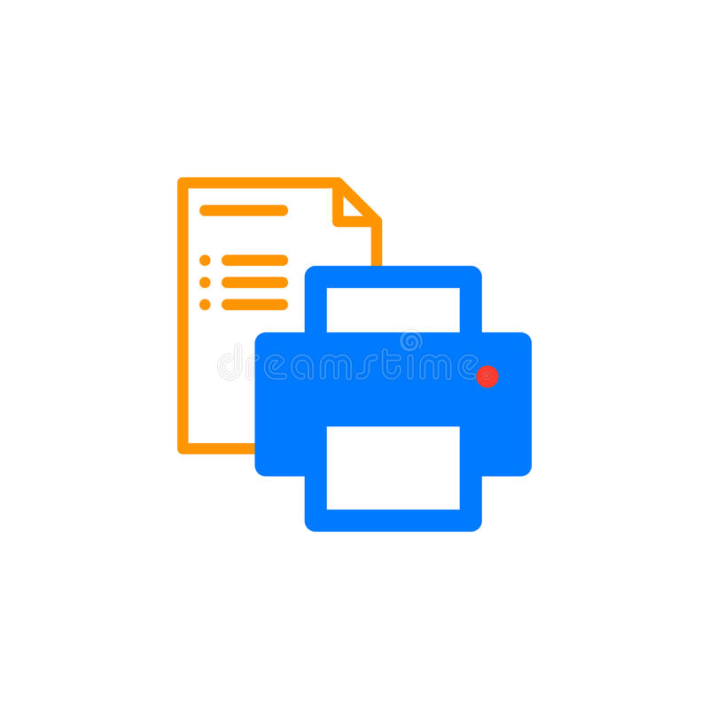 打印机和纸张文件象导航,被填装的平的标志,在白色隔绝的坚实五颜六色的图表 库存例证
