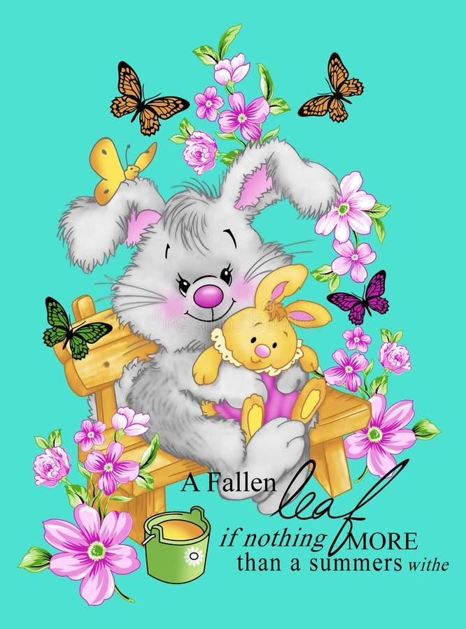 打印现代意想不到的兔子庭院时尚样式逗人喜爱的T恤杉 免版税库存照片