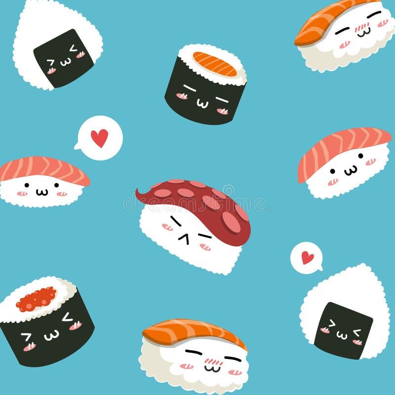 打印的书刊上的图片和设计寿司样式 皇族释放例证