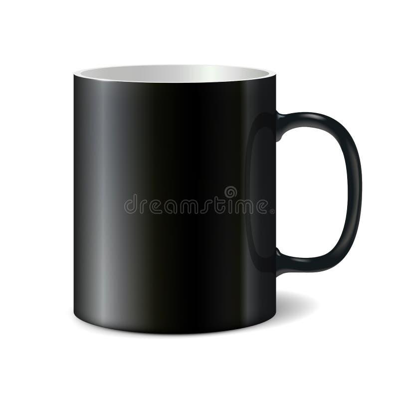 打印的公司商标黑大陶瓷杯子 皇族释放例证