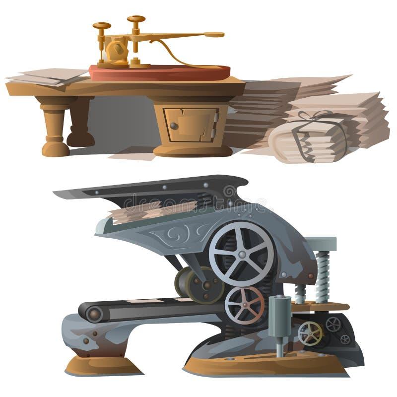 打印的报纸和新闻老设备 库存例证