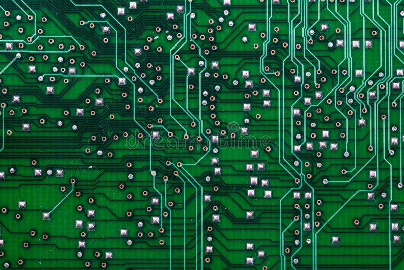 打印的绿色计算机电路板 免版税库存照片