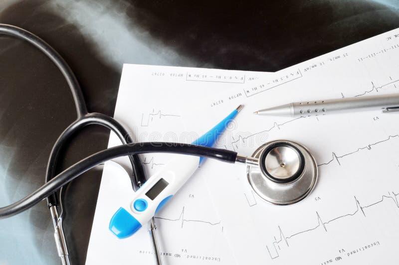 打印输出听诊器 免版税图库摄影