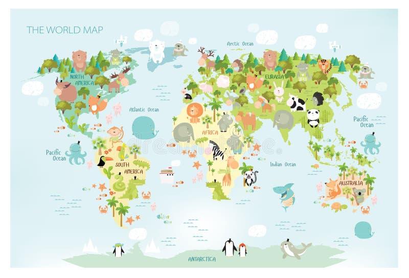 打印 用卡通动物为儿童绘制世界矢量图 欧洲、亚洲、南美洲、北美、澳洲及非洲 向量例证