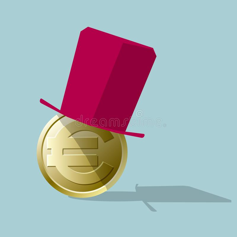 Topper on the euro coin. Isolated on blue background stock illustration