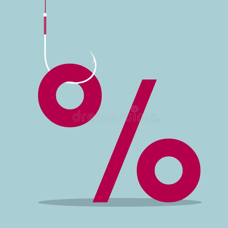 The percentage symbol is hung on the hook. stock illustration