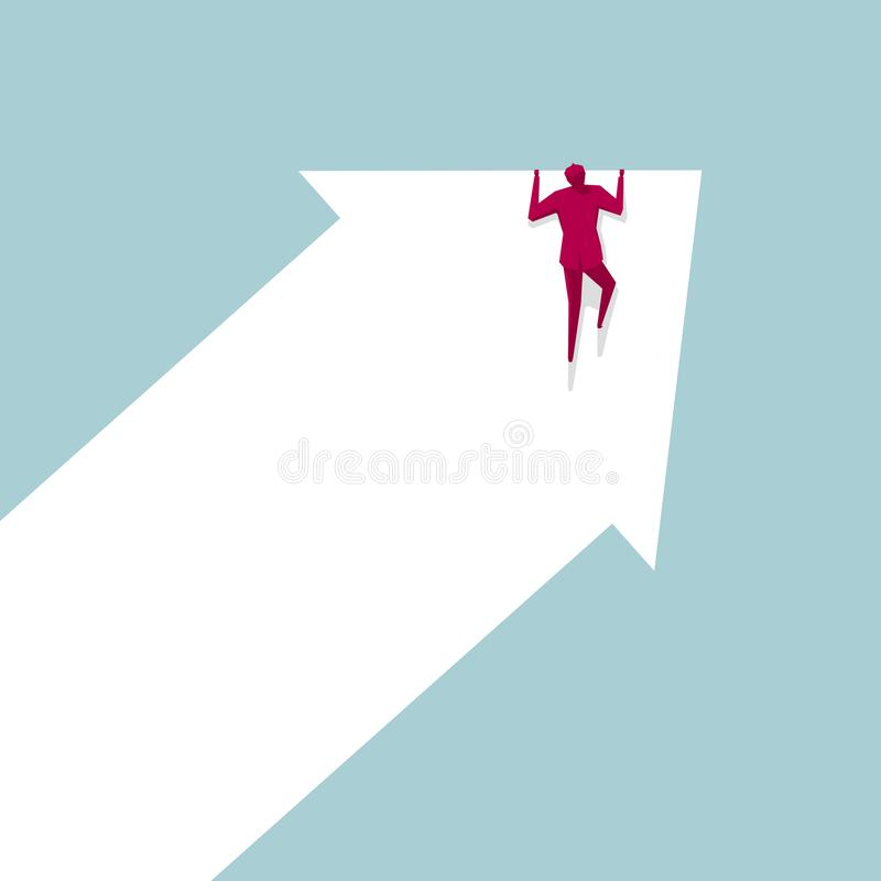 Businessman climbs up the arrow symbol. Isolated on blue background stock illustration