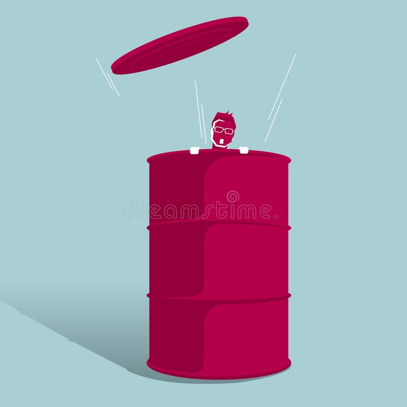 The businessman was trapped in the oil barrel. vector illustration