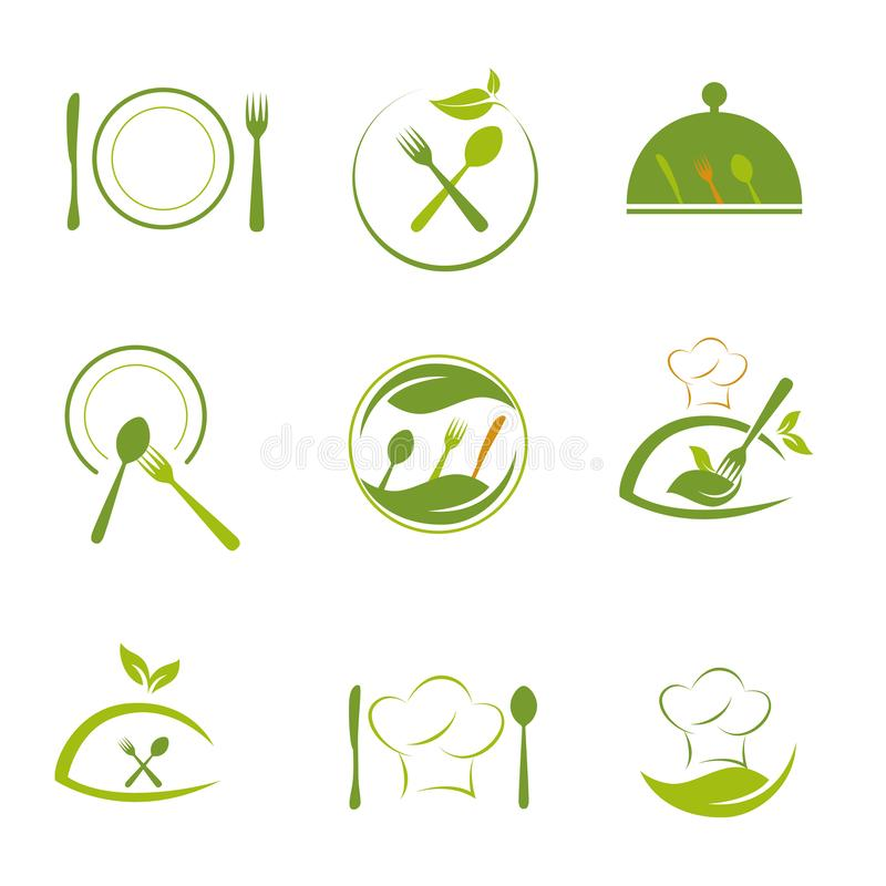 Green food and health cooking business logo. Health kitchen vector illustration
