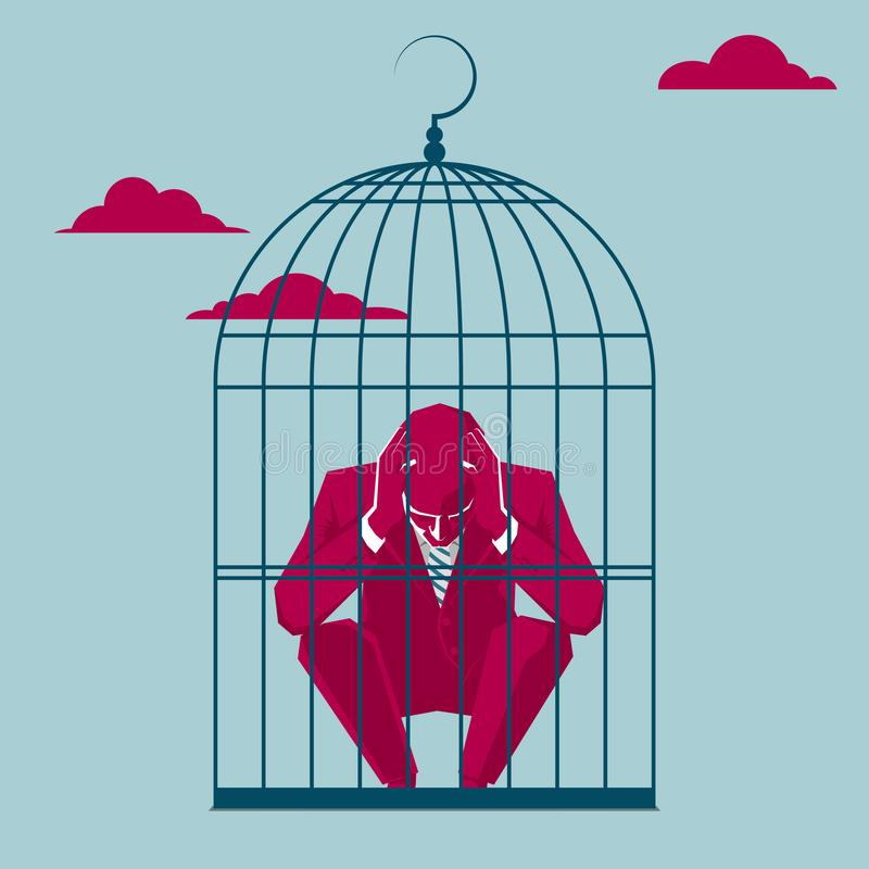 The businessman was trapped in a bird cage. stock illustration