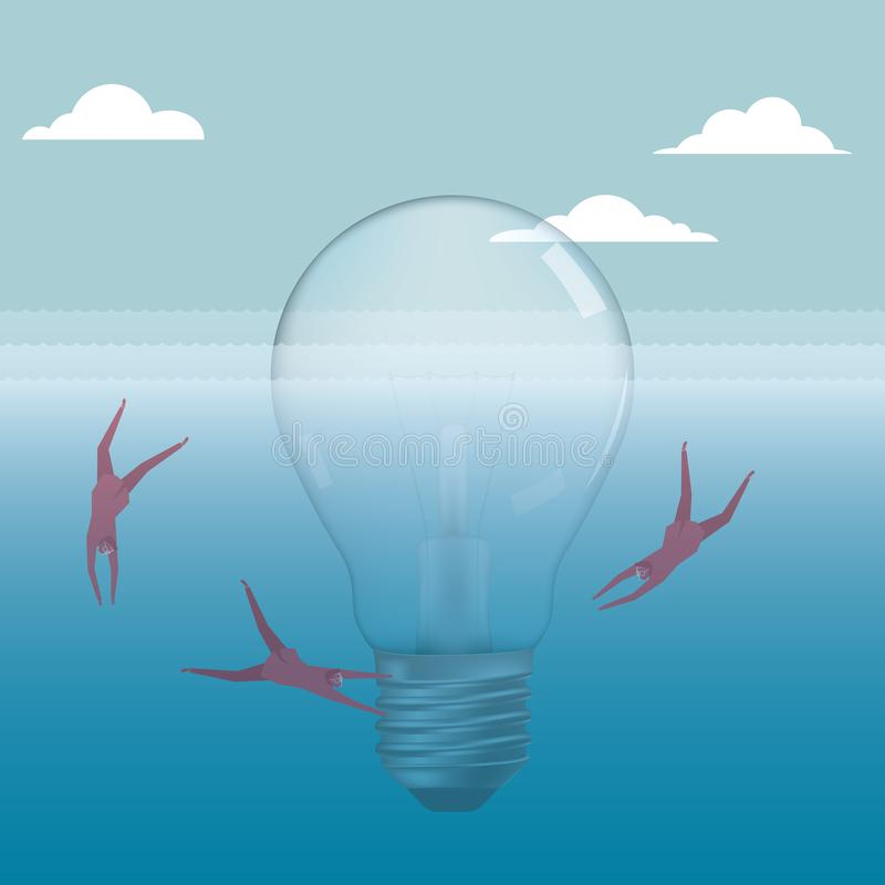 Businessman diving, around the light bulb. stock illustration