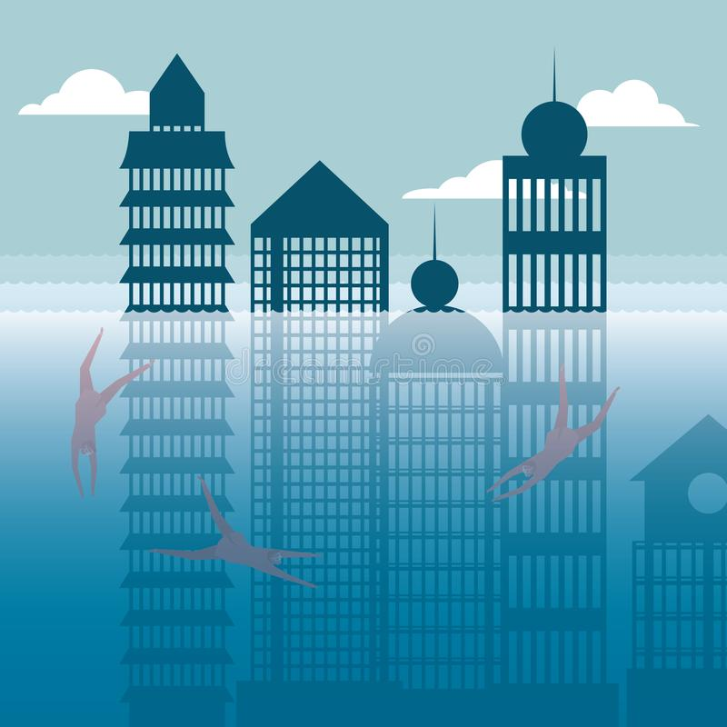 Businessman diving, underwater city. stock illustration
