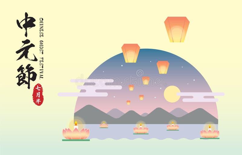 Chinese ghost festival - Floating lotus lanterns and sky lanterns with landscape. Chinese ghost festival  Zhong Yuan Jie or Yu Lan Jie illustration. Floating royalty free illustration