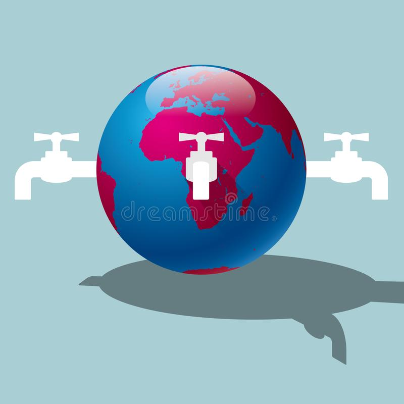 Environmental protection, saving water. Isolated on blue background royalty free illustration