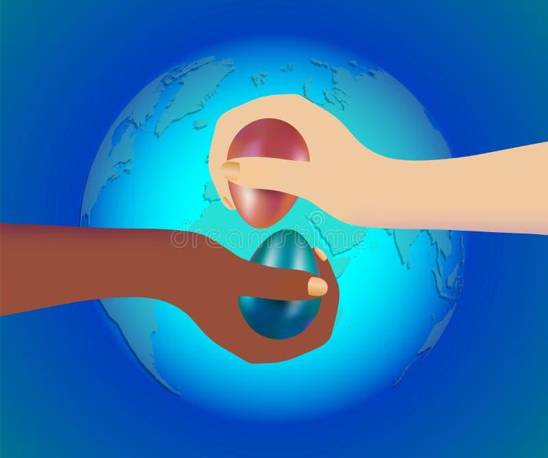 打在传统基督徒比赛的两人或种族的手用不同的肤色的用在蓝色的被洗染的复活节彩蛋 向量例证