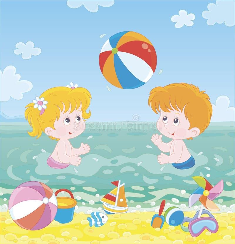 打在海滩的孩子一个五颜六色的球 库存例证