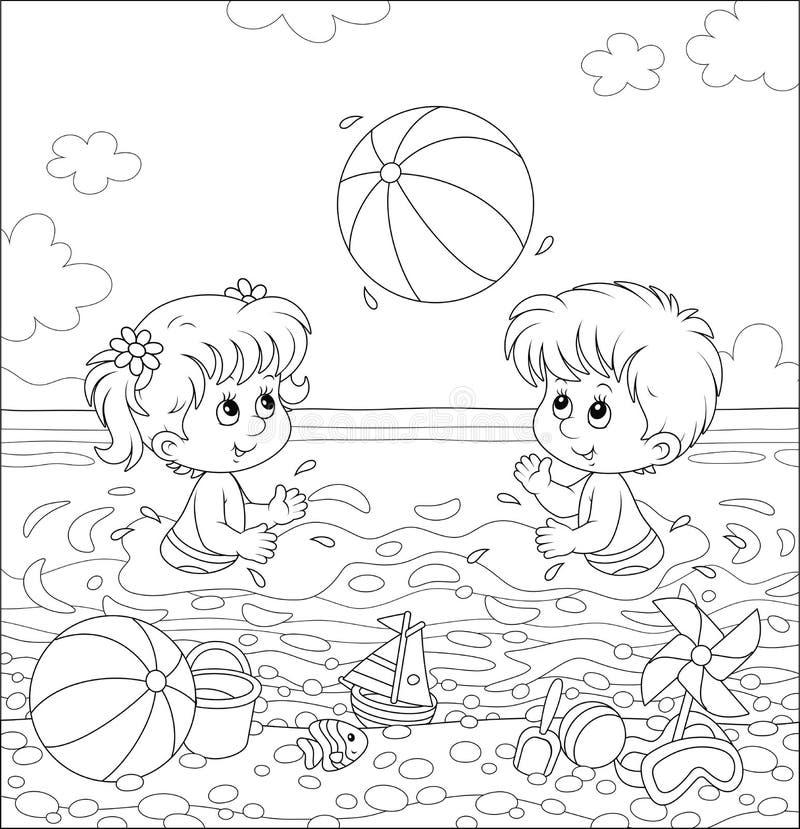 打在海滩的孩子一个大球 皇族释放例证