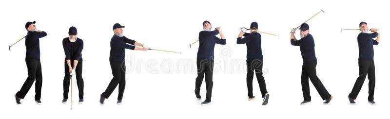 打在白色的老人拼贴画高尔夫球 库存图片