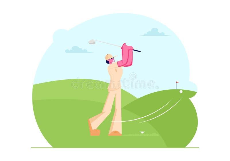 打在路线的制服和盖帽的年轻女人高尔夫球与绿草和棍子旗子,击中球的女孩对孔,体育比赛 向量例证