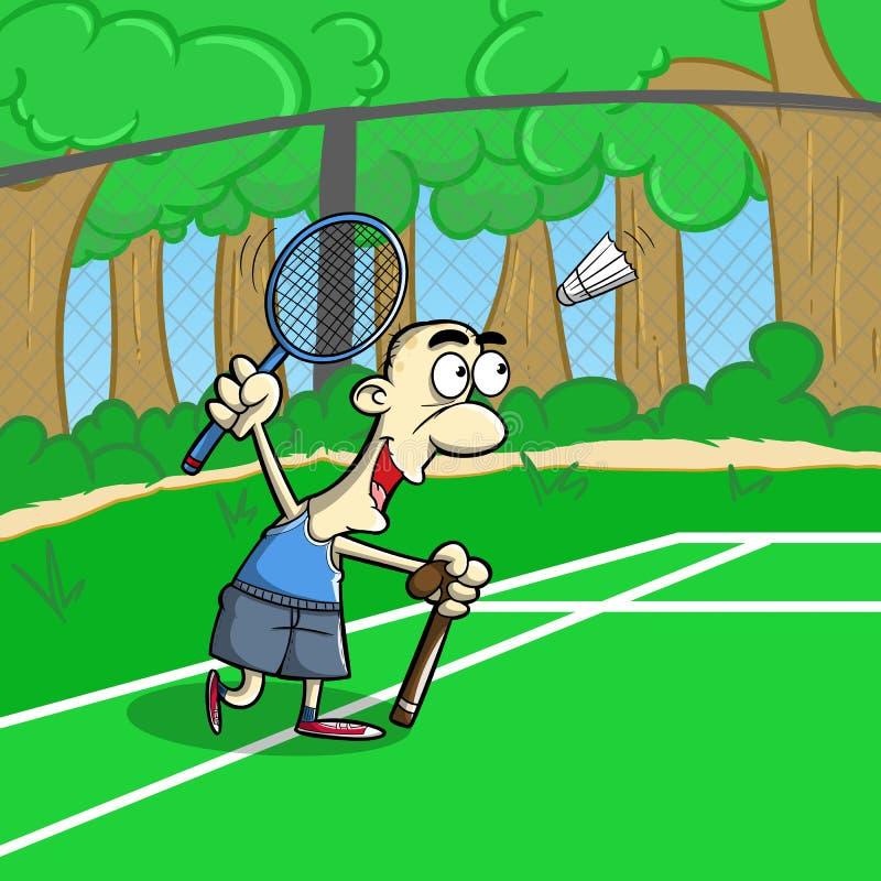 打在领域的老人擦网球