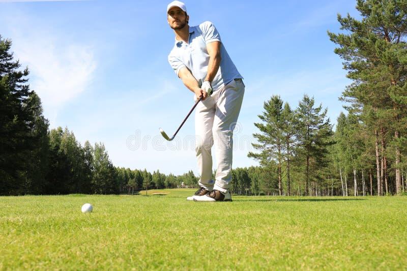 打在高尔夫俱乐部的运动年轻人高尔夫球 免版税图库摄影