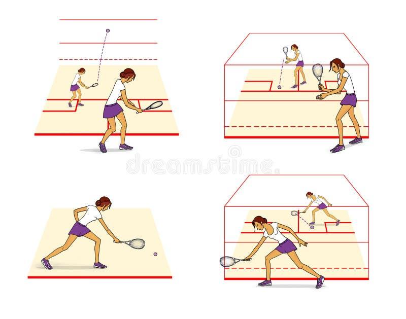 打墙网球 运动计划,最初培训 背景查出的白色 向量例证