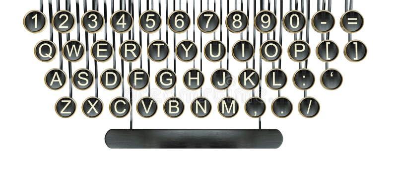打字机关键字,葡萄酒关键董事会查出的白色 免版税图库摄影