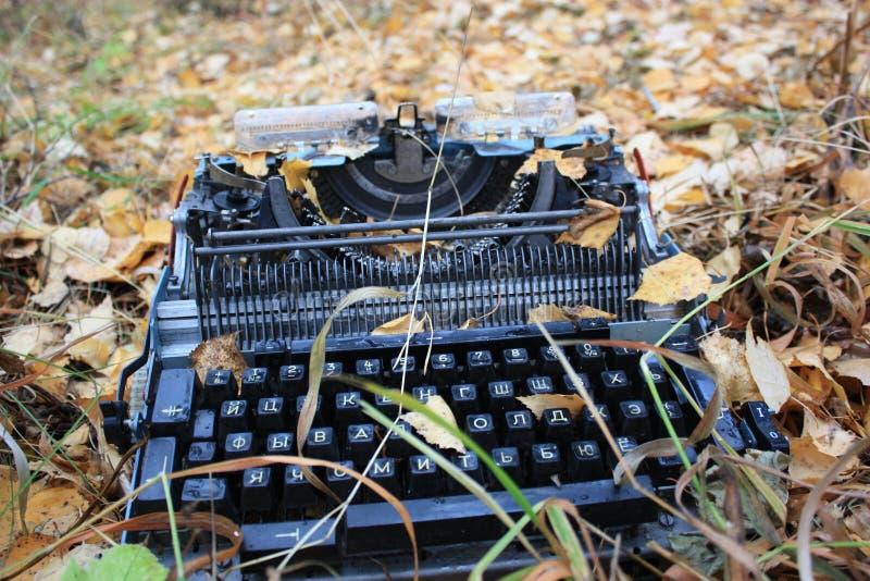 打字机和秋天 库存照片