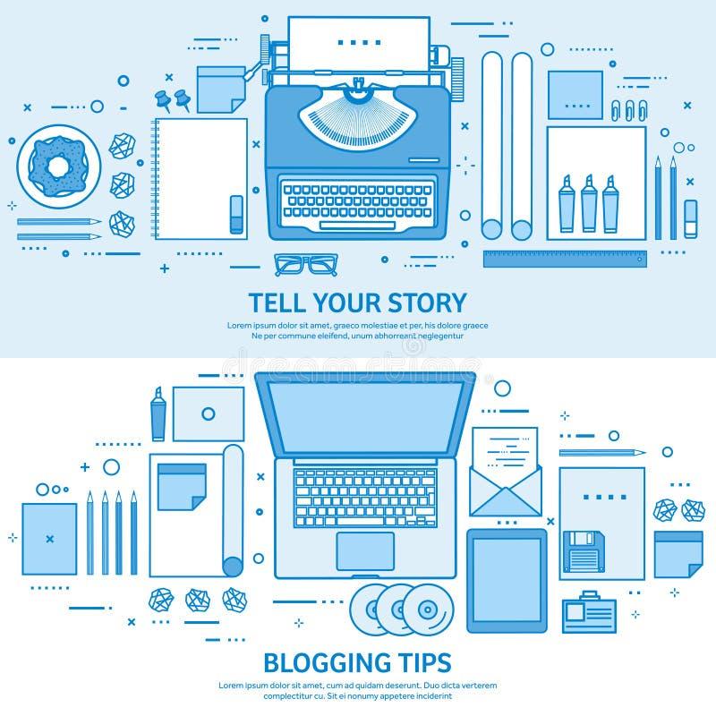 打字机和膝上型计算机 讲您的故事 编写的 博克的平台 平的蓝色概述背景 线艺术传染媒介 向量例证
