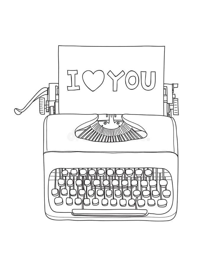 打字机我爱你便携式的减速火箭的手拉的传染媒介线艺术例证 向量例证