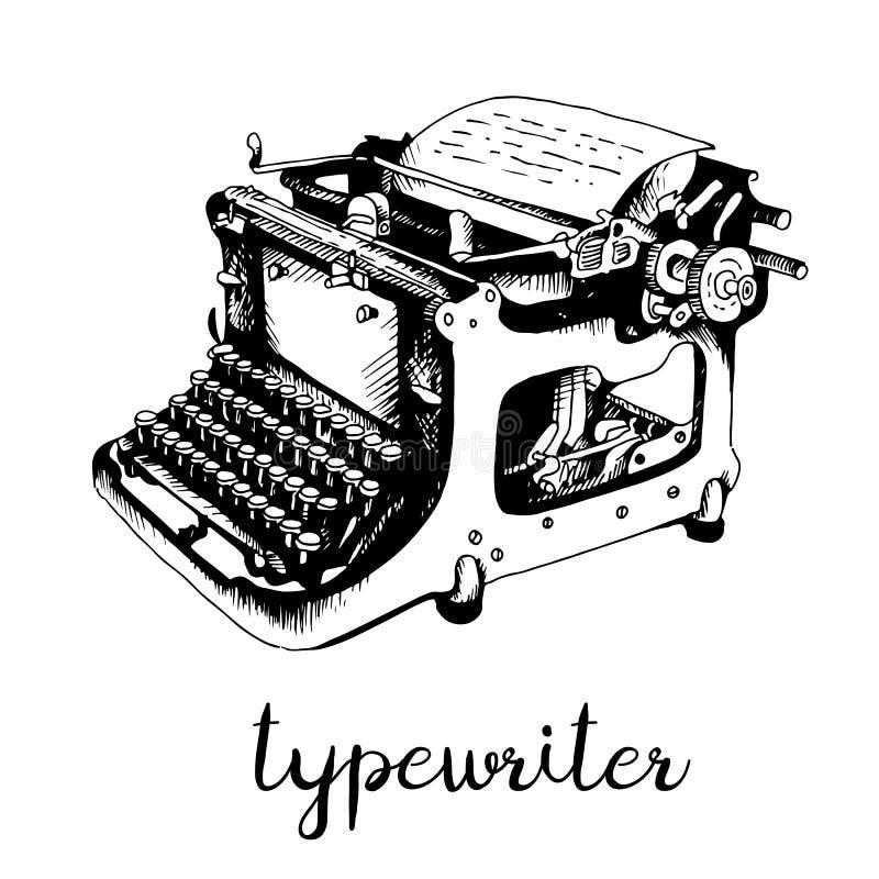 打字机手拉的剪影 库存例证