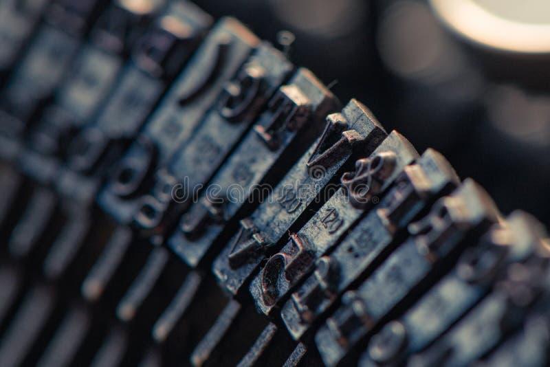 打字机连动杆宏指令 库存照片