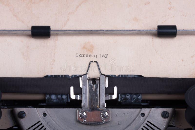 打字机键入的词电影剧本 图库摄影