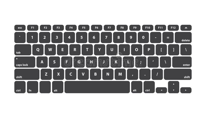 打字机键盘黑键盘的冲程-被隔绝的传染媒介例证 向量例证