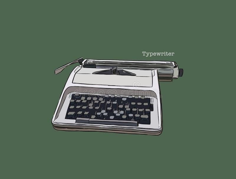 打字机,手凹道传染媒介 皇族释放例证