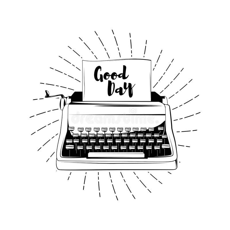 打字机- Dood天卡片 蝴蝶 向量例证