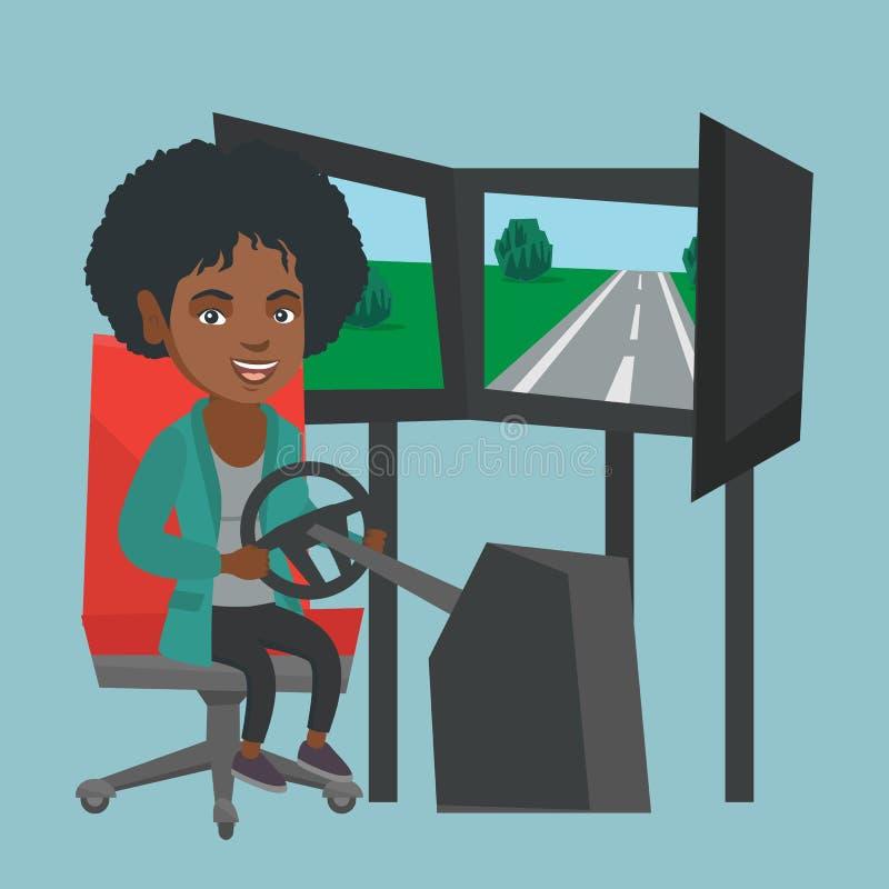 打小汽车赛电子游戏的年轻非洲妇女 向量例证