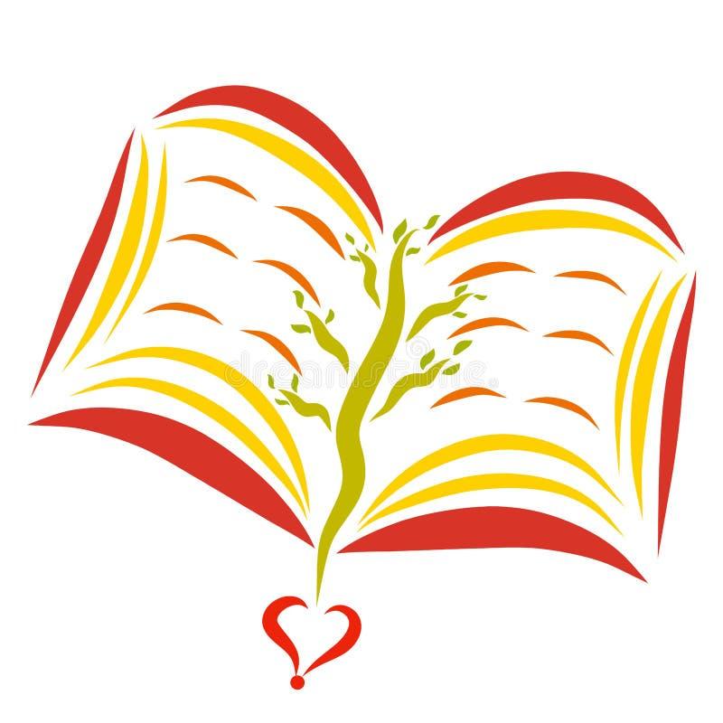 打开与一棵树的书在页 库存例证