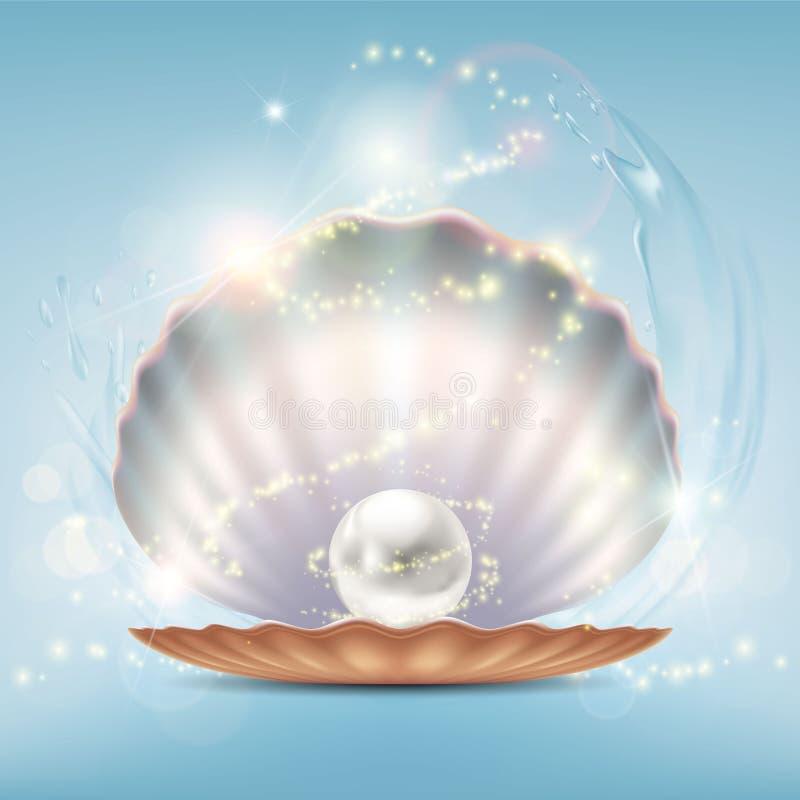打开与一颗珍贵的珍珠的美好的壳 向量例证