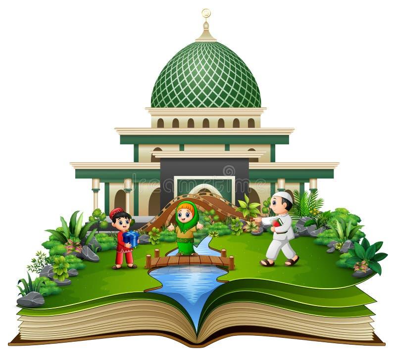 打开与使用在清真寺前面的愉快的穆斯林孩子动画片的书 库存例证