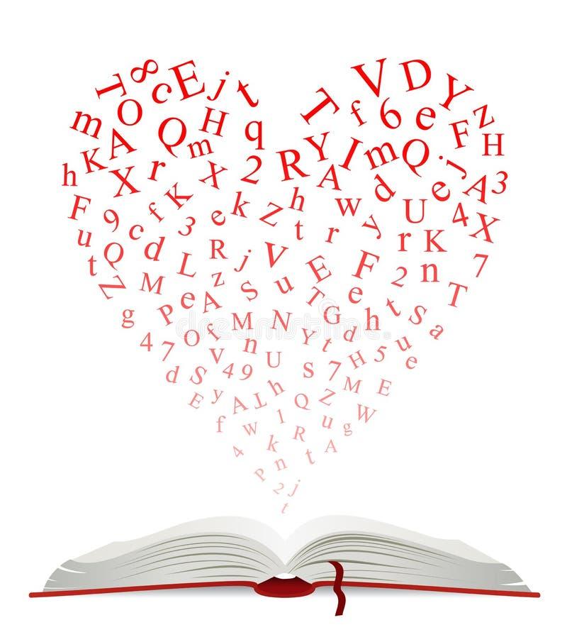 打开与信件的心脏的书 皇族释放例证
