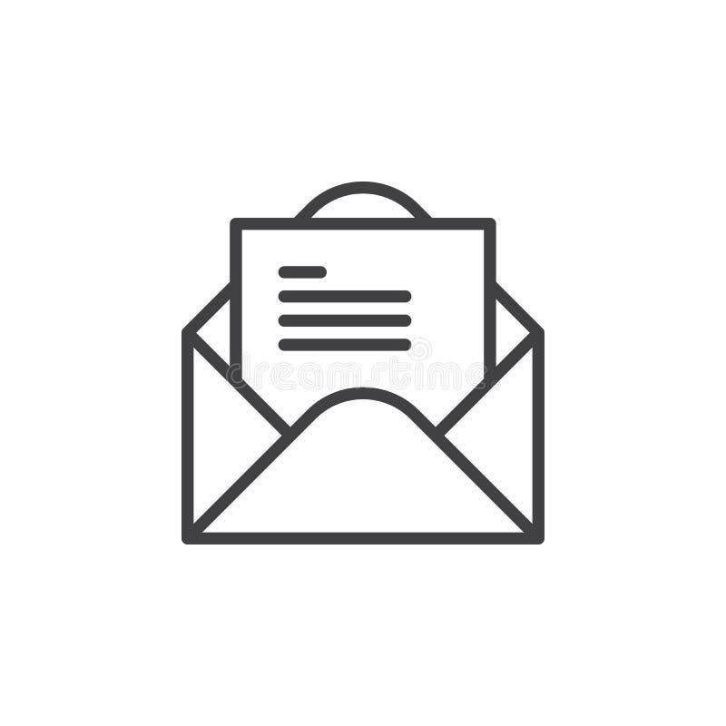 打开与信件线象,概述传染媒介标志,在白色隔绝的线性样式图表的信封 向量例证