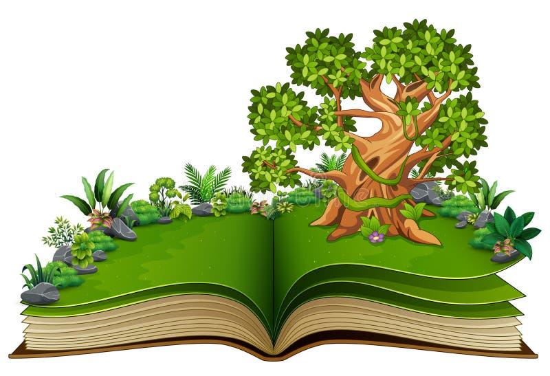 打开与动物动画片的书在树 向量例证