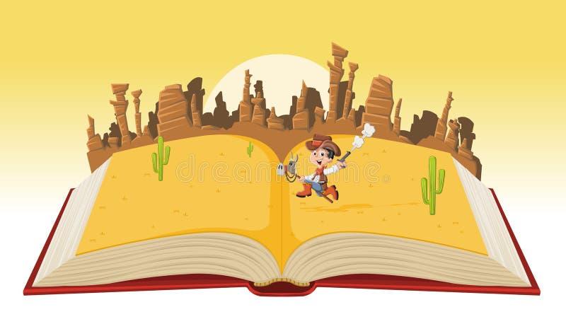 打开与动画片牛仔孩子的书 皇族释放例证