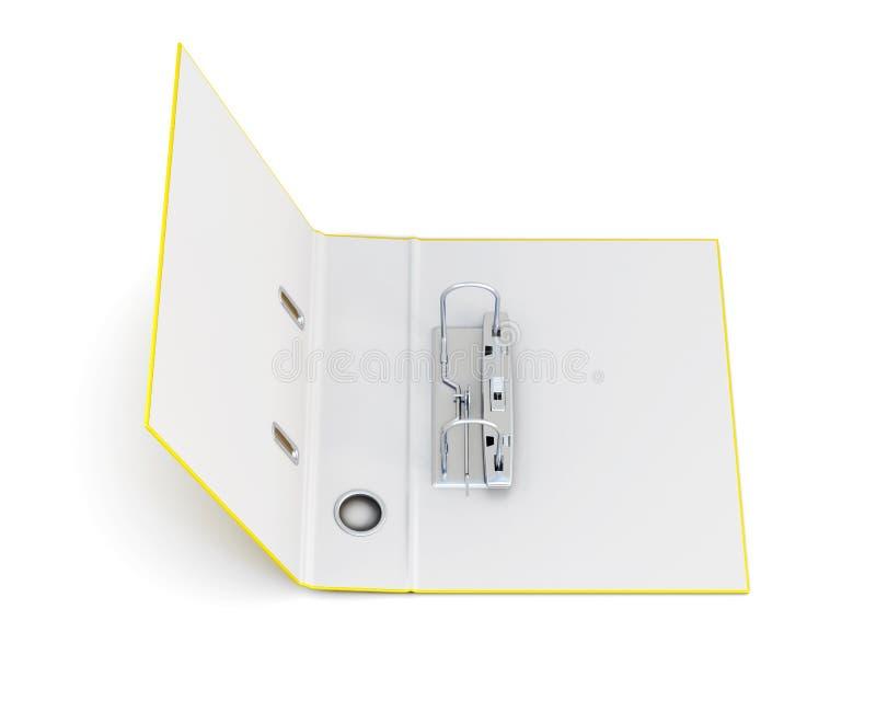 打开与在白色背景隔绝的金属圆环的办公室文件夹 库存例证