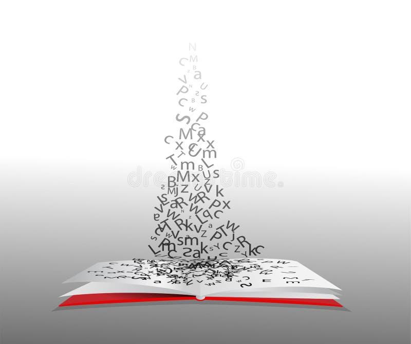 打开与字母表的书 库存例证