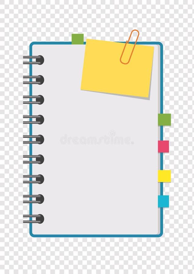打开与干净的床单的笔记薄在与书签的一个螺旋在页之间 在trans隔绝的五颜六色的平的传染媒介例证 向量例证