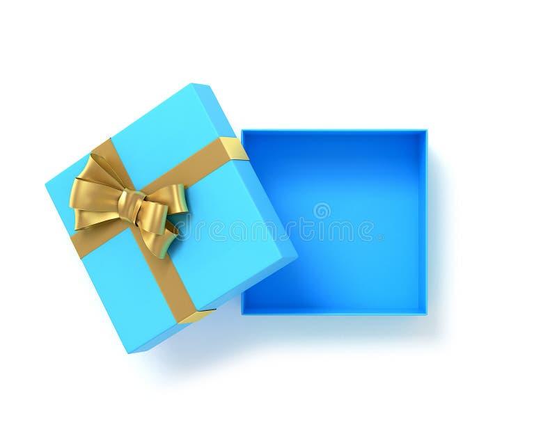 打开与弓丝带的蓝色礼物盒顶视图 3d例证 皇族释放例证