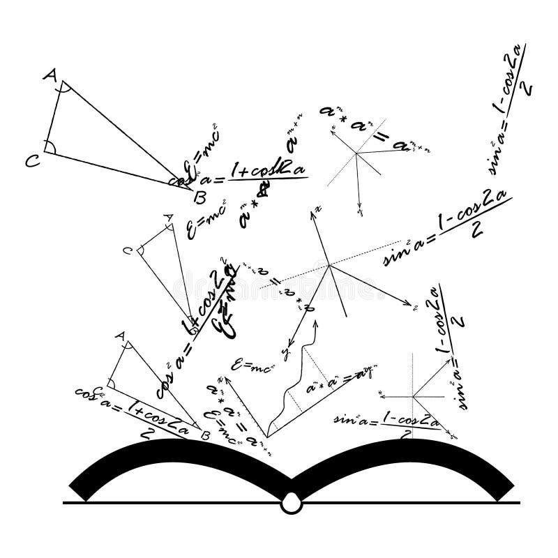 打开与数学和物理惯例,传染媒介的知识书 向量例证