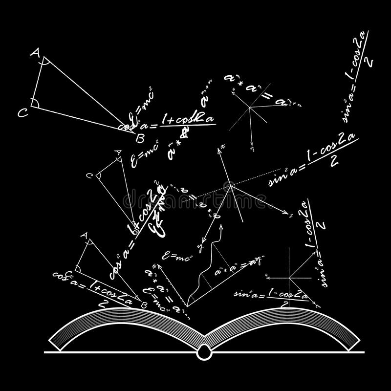 打开与数学和物理惯例,传染媒介的知识书 皇族释放例证